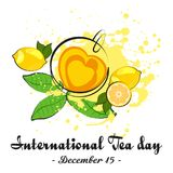 Cup of tea with lemon. Cup of tea in shape of heart with lemon and tea leaves on white background. International Tea Day in December 15. Vector illustration vector illustration