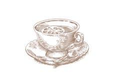 Cup of tea with lemon Stock Photos