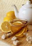 Cup of tea with a lemon and ginger Stock Photography
