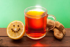Cup of tea. With lemon and ginger Royalty Free Stock Image