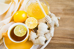 Cup of Tea With Lemon Ginger and Honey. Royalty Free Stock Image