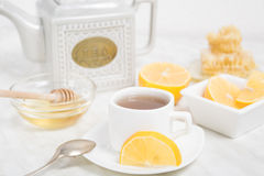 A cup of tea with lemon and honey Royalty Free Stock Photography