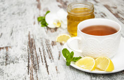 Cup of tea with lemon and honey Stock Photography