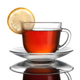 Cup of tea with lemon isolated. On white Stock Photography