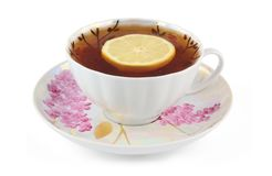 Cup of tea with lemon isolated Stock Photography