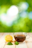 Cup of tea with lemon and mint on green background Royalty Free Stock Photos