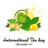 Cup of tea with lemon and mint. Cup of green tea in shape of heart with lemon, mint and tea leaves on white background. International Tea Day in December 15 royalty free illustration