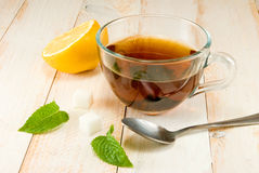 Cup of tea, lemon and mint Stock Photo