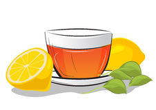 Cup of tea with lemon and mint leafs Royalty Free Stock Photo