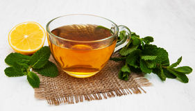 Cup of tea with lemon and mint. On a old white wooden background Royalty Free Stock Photography