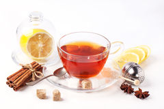 Cup of tea with lemon over white Royalty Free Stock Photography