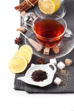 Cup of tea with lemon over white Royalty Free Stock Image
