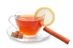 Cup of tea with lemon slice Stock Photography