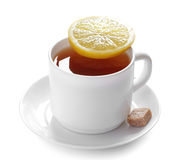Cup of tea with lemon slice Royalty Free Stock Image