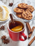 Cup of tea with lemon slices Stock Images