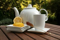Cup of tea lemon slices and bowl. On table in the garden Royalty Free Stock Photo