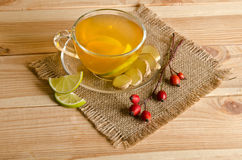 Cup of tea with lemon slices and ginger Stock Photography