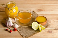 Cup of tea with lemon slices Royalty Free Stock Photography