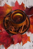 Cup of tea with lemon, spices and autumnal leaves on wooden background Stock Photography