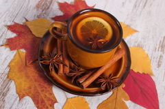 Cup of tea with lemon, spices and autumnal leaves on wooden background Stock Photos
