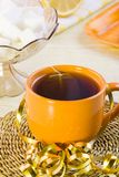 Cup of tea, lemon and sugar Royalty Free Stock Photo