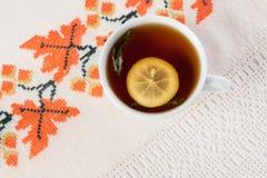 Cup of tea with lemon. Stock Photos