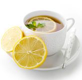 Cup of tea with  lemon and thermometer Stock Photography