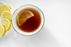 Cup of tea with lemon. Top view.  royalty free stock photography