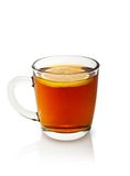 Cup of tea with lemon. On a white background Royalty Free Stock Image