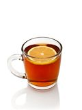 Cup of tea with lemon. On a white background Stock Images
