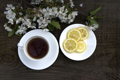 Cup of tea, lemon and white flowers Royalty Free Stock Images