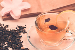 Cup of  tea with lemon on wooden background Royalty Free Stock Photos