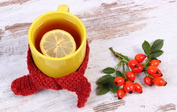 Cup of tea with lemon wrapped woolen scarf, warming beverage for flu, autumn decoration Stock Images