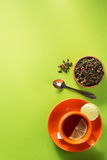 Cup of tea at light green paper Stock Photography