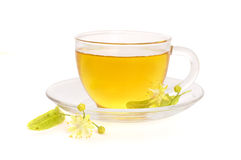 Cup of tea with linden flowers Stock Photos
