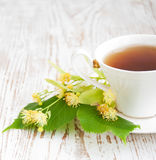 Cup of tea and linden flowers Royalty Free Stock Photos