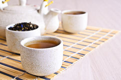 Cup with tea liquid Stock Images