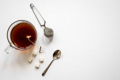 Cup of tea with lumps of sugar top view mock up Royalty Free Stock Photography