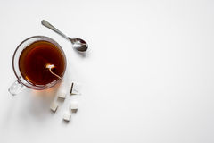 Cup of tea with lumps of sugar top view mock up Royalty Free Stock Images