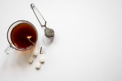 Cup of tea with lumps of sugar top view mock up Stock Photo