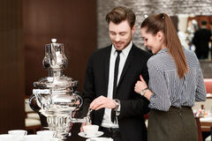 Cup of tea at the luxury buffet restaurant Royalty Free Stock Images