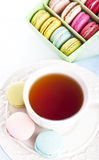Cup of tea with macaron Stock Photos