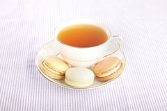 Cup of tea and macaroons Royalty Free Stock Photo