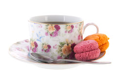 Cup tea with macaroons Stock Photography