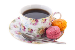 Cup tea with macaroons Royalty Free Stock Photo