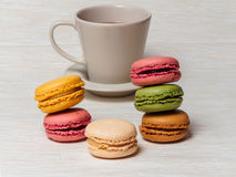 Cup of Tea and Macaroons Stock Image