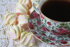 Cup of tea with marshmallow Royalty Free Stock Image