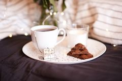 Cup of tea with chocolate bars royalty free stock photography
