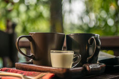 Cup of tea with milk outdoors Stock Photo