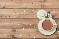 Cup Of Tea. Mince Pie. Shining Stars. Wooden Stock Images